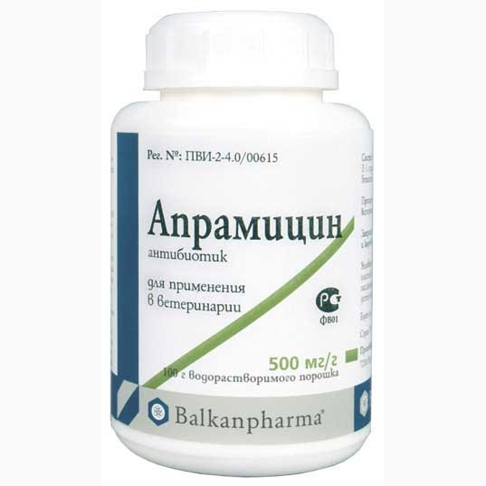 Апрамицин 100 г Huvepharma (Болгария) порошок антибиотик широкого спектра действия для ветеринарии