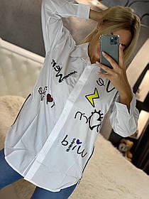 Стильная молодежная женская белая рубашка с длинным рукавом Турция, Белая рубашка с боковыми змейками