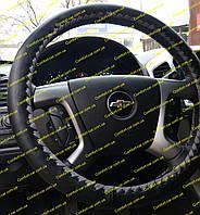 Кожаный чехол на руль (оплетка на руль) черная,переплет серый
