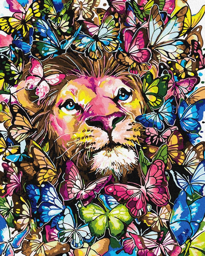 Лев в бабочках