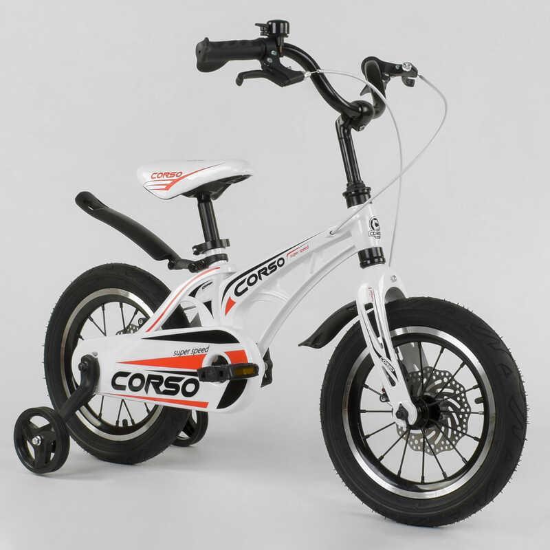"""Велосипед 14"""" дюймов 2-х колёсный """"CORSO"""" MG-14 S 499 (1) БЕЛЫЙ, МАГНИЕВАЯ РАМА, АЛЮМИНИЕВЫЕ ДВОЙНЫЕ ДИСКИ С"""