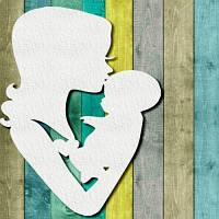 Чипборд Мама і малюк для скрапбукінгу, Розмір: 110х68мм