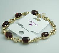 Красивый браслет с цветами в стразах с рубиновыми кристаллами. Бижутерия с позолотой для женщин. 41