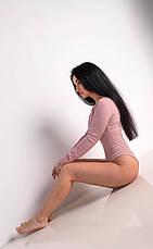Комбидресс женский однотонного цвета с длинным рукавом в пудровом цвете, фото 2