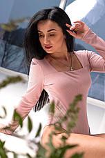 Комбидресс женский однотонного цвета с длинным рукавом в пудровом цвете, фото 3