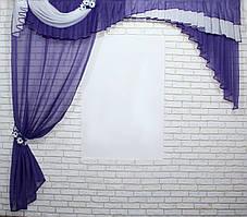 Ламбрекен (250х245см.) с шторкой из шифона. Модель №111лш. Цвет фиолетовый с белым. Код 111лш 70-041