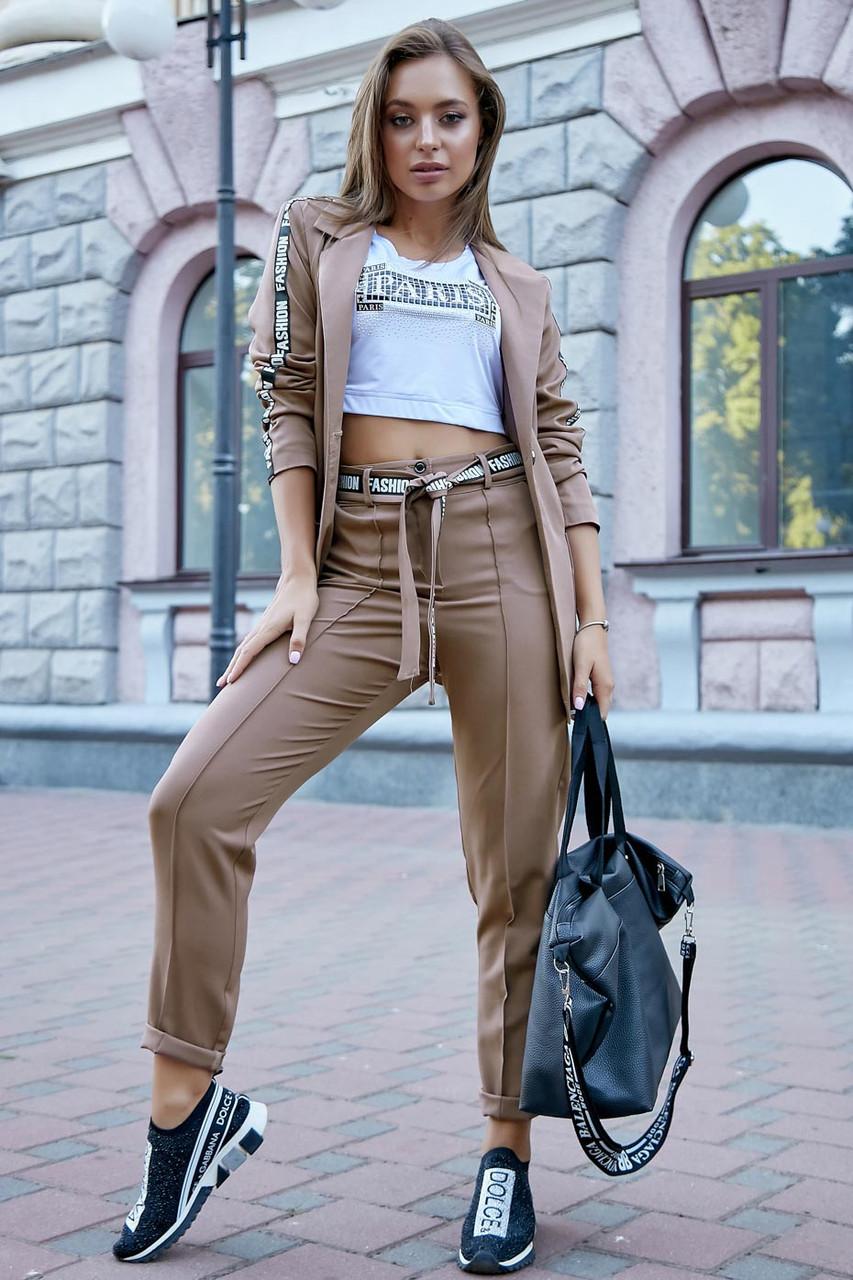 Ультрамодний молодіжний брючний костюм: штани висока посадка + піджак   кави   костюмка