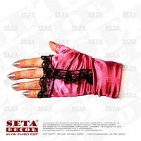 Малиновые перчатки-митенки с чёрной рюшей атласные короткие без пальчиков