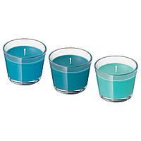 BRÄCKA Ароматична свічка в склі, 3шт, бірюзові тони 502.776.56