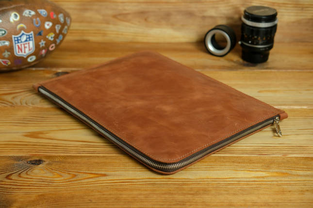 Шкіряний чохол для MacBook з повстяною підкладкою, на блискавці, Вінтажна шкіра, колір Коньяк, фото 2
