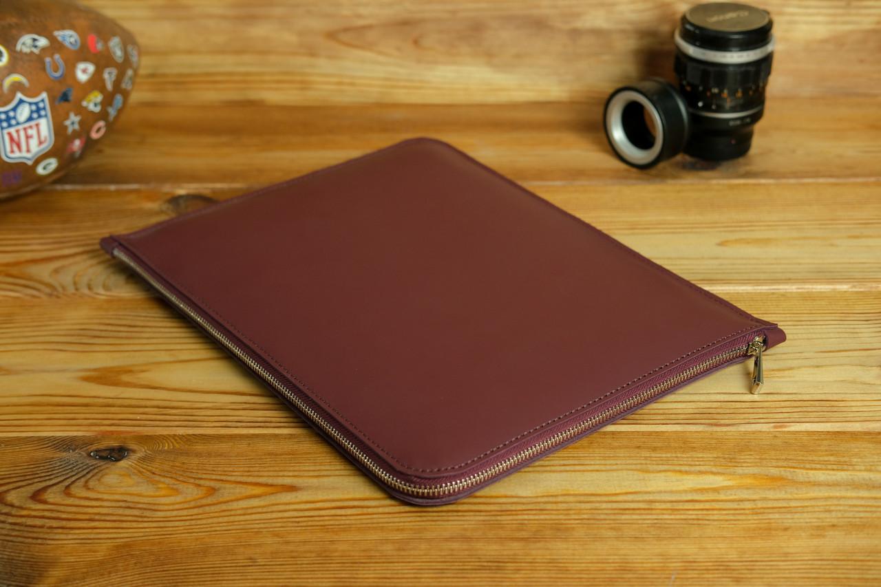 Чохол для MacBook на блискавці з повстю Дизайн №41 шкіра Grand, колір Бордо