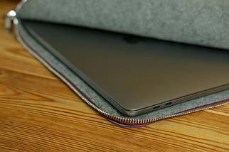 Чохол для MacBook на блискавці з повстю Дизайн №41 шкіра Grand, колір Бордо, фото 2
