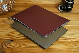 Чохол для MacBook на блискавці з повстю Дизайн №41 шкіра Grand, колір Бордо, фото 3