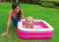 Дитячий надувний басейн Intex 85х85х23 см (рожевий) - квадратний надувний басейн для малюків