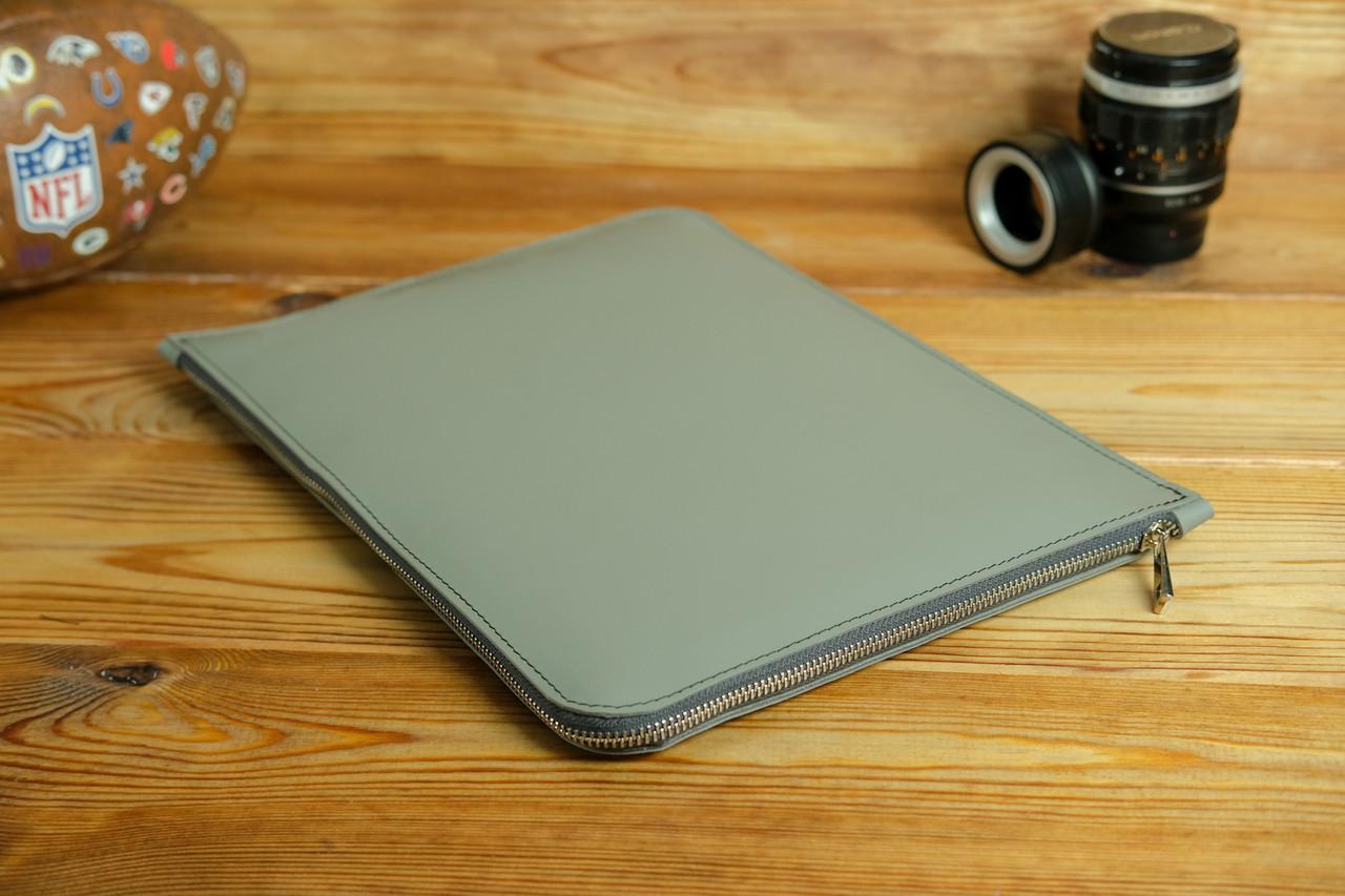 Чехол для MacBook на молнии с войлоком Дизайн №41, кожа Grand, цвет Серый