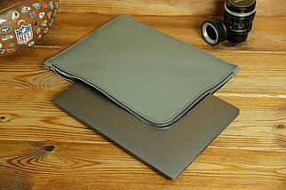 Чехол для MacBook на молнии с войлоком Дизайн №41, кожа Grand, цвет Серый, фото 2
