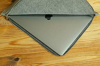 Чехол для MacBook на молнии с войлоком Дизайн №41, кожа Grand, цвет Серый, фото 3