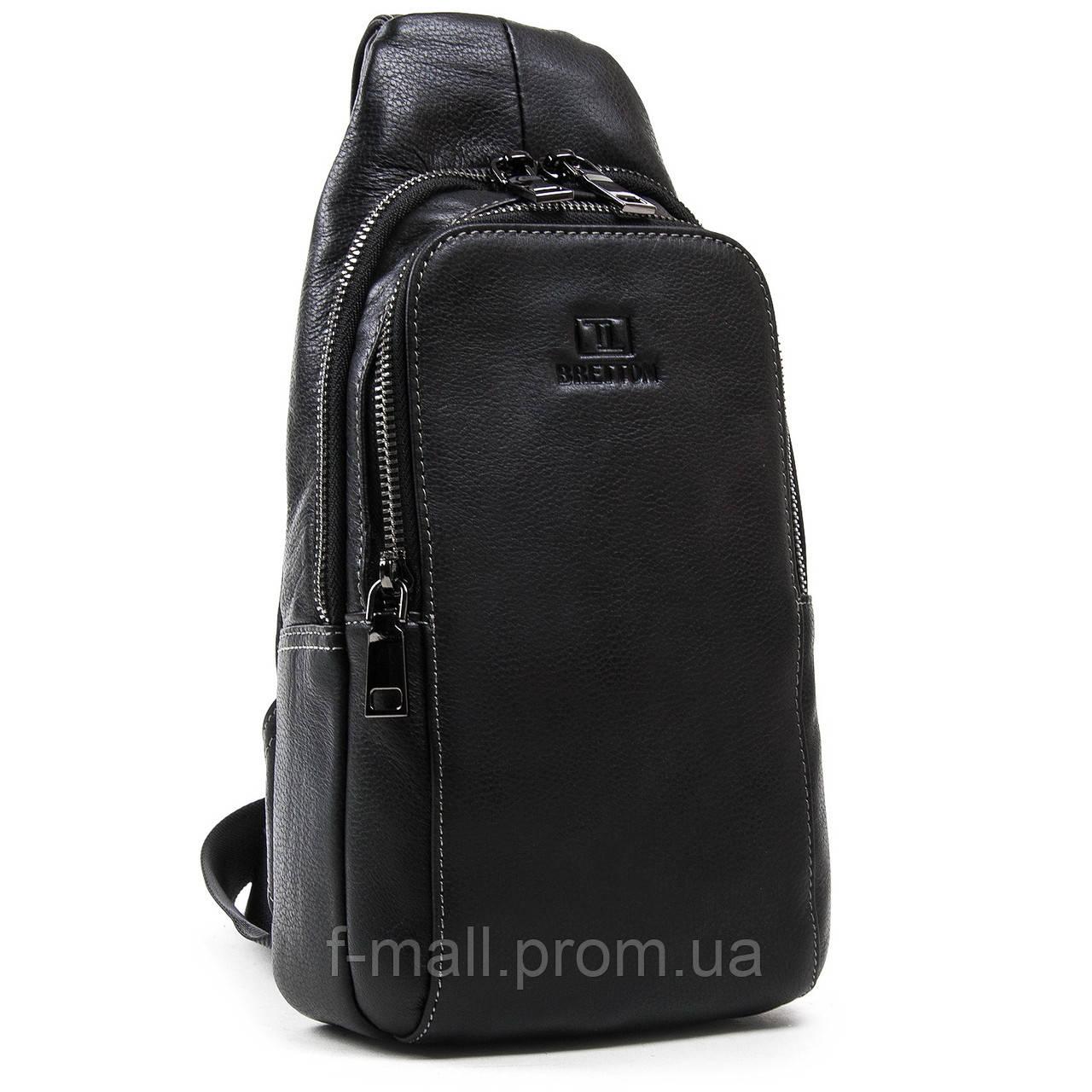 Рюкзак-сумка кожаная BRETTON через плечо слинг черная 18х31х9 (BE 2002-3)