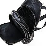 Рюкзак-сумка кожаная BRETTON через плечо слинг черная 18х31х9 (BE 2002-3), фото 3