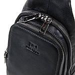 Рюкзак-сумка кожаная BRETTON через плечо слинг черная 18х31х9 (BE 2002-3), фото 4