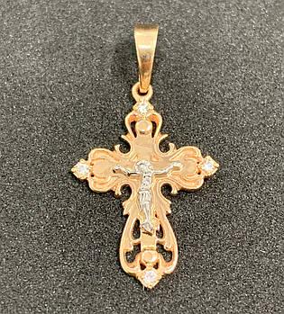 Золотой крест с фианитами 585 пробы, Б/У, вес - 1.56 г. Золото из ломбарда