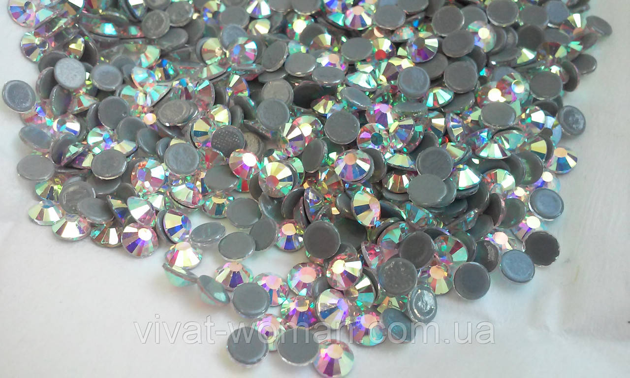 Стразы А+ премиум, Crystal AB SS12 (3,0мм), термоклеевые. Цена за 144 шт