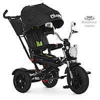 Велосипед M 4056HA-20 (1шт)три кол. гума (12/10),колясочн,поворот,муз,чорний,зелені ремені