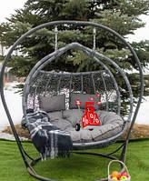 Садовое подвесное кресло качели кокон Glamur Gray со стойкой, подвесное кресло-шар, Подвесные садовые качели