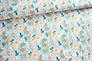 Ткань сатин Цветы (золотая имитация)