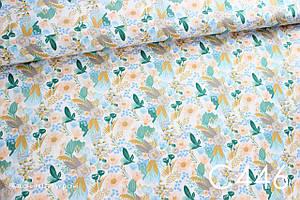 Тканина сатин Квіти (золота імітація)