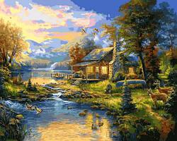 Картины по номерам 40×50 см Babylon Томас Кинкейд Дом у озера (VP 1355)