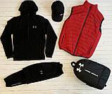 Under Armour Чоловічий чорний спортивний костюм з капюшоном весна осінь. Костюм+жилетка+месенджер+рюкзак, фото 2