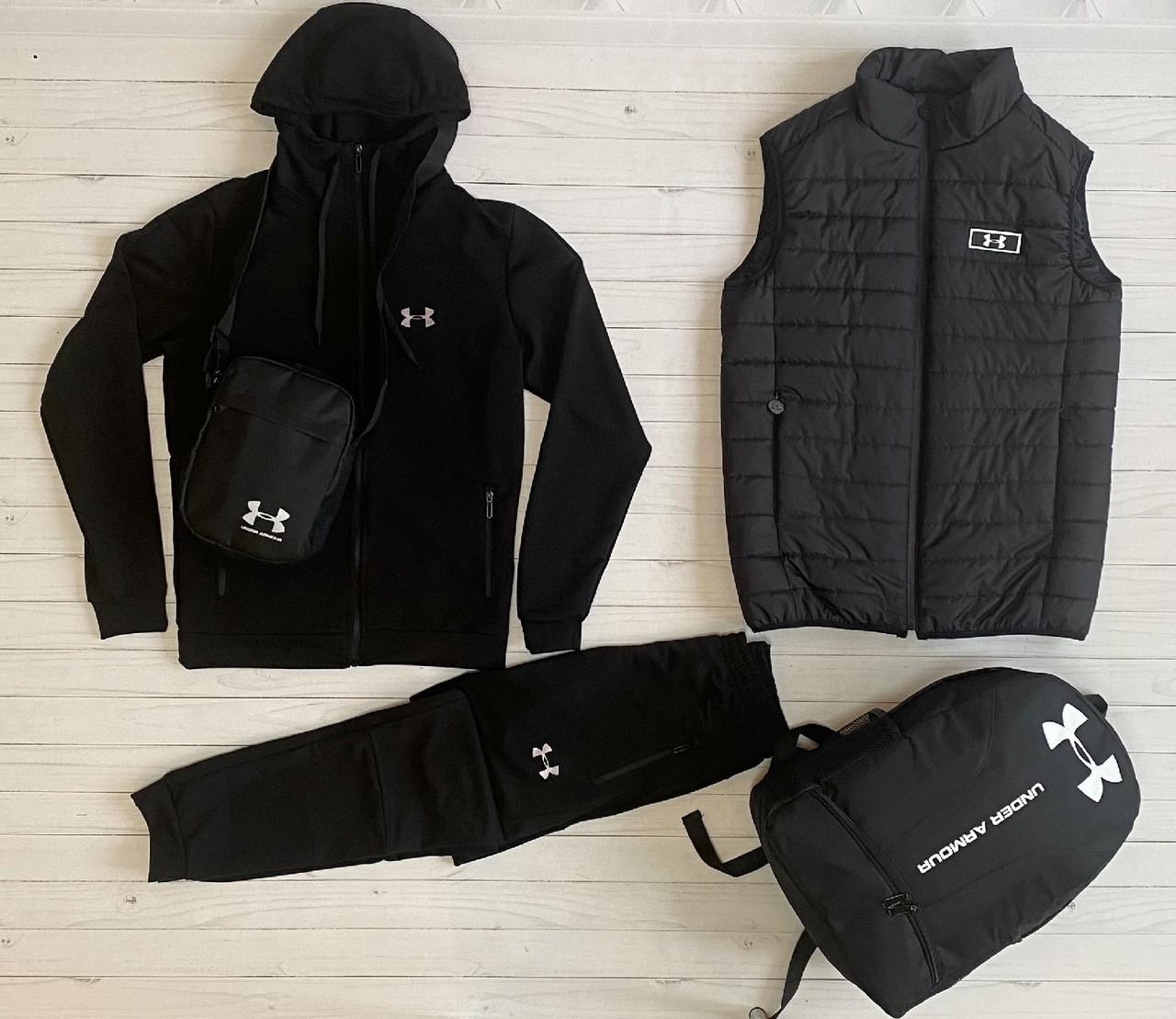 Under Armour Чоловічий чорний спортивний костюм з капюшоном весна осінь. Костюм+жилетка+месенджер+рюкзак