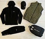 Under Armour Чоловічий чорний спортивний костюм з капюшоном весна осінь. Костюм+жилетка+месенджер+рюкзак, фото 3