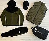 Under Armour Чоловічий чорний спортивний костюм з капюшоном весна осінь. Костюм+жилетка+месенджер+рюкзак, фото 4