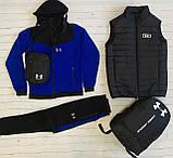 Under Armour Чоловічий чорний спортивний костюм з капюшоном весна осінь. Костюм+жилетка+месенджер+рюкзак, фото 5