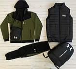 Under Armour Чоловічий чорний спортивний костюм з капюшоном весна осінь. Костюм+жилетка+месенджер+рюкзак, фото 6