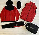 Under Armour Чоловічий чорний спортивний костюм з капюшоном весна осінь. Костюм+жилетка+месенджер+рюкзак, фото 8