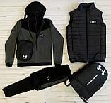 Under Armour Чоловічий чорний спортивний костюм з капюшоном весна осінь. Костюм+жилетка+месенджер+рюкзак, фото 9