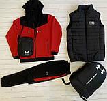 Under Armour Чоловічий чорний спортивний костюм з капюшоном весна осінь. Костюм+жилетка+месенджер+рюкзак, фото 10