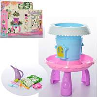 Домик JLS-06 (48шт) на столике, огород, садовый инвентарь, в коробке, 18-15-6,5см