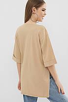 Женская стильная футболка  Цвет: песочный  Размеры S M L, фото 3