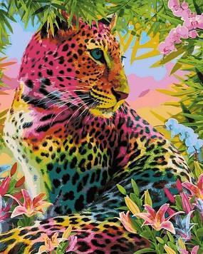 Картины по номерам 40×50 см Babylon Цветной леопард (VP 1348)