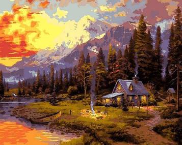 Картины по номерам 40×50 см Babylon Томас Кинкейд Рыбалка на закате (VP 1351)