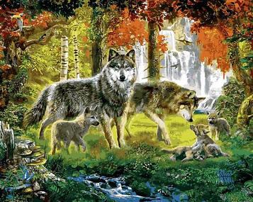 Картины по номерам 40×50 см Mariposa Семья волков (Q 2254)