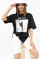 Жіноча стильна футболка Колір: чорний Розміри S M L, фото 3