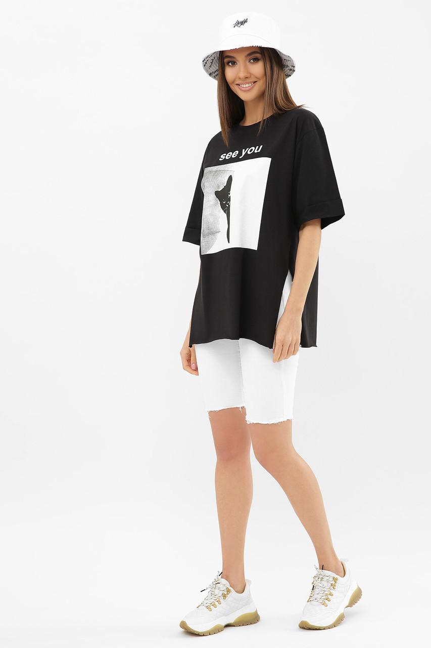 Жіноча стильна футболка Колір: чорний Розміри S M L