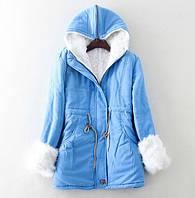 Куртка (парка)  женская с капюшоном, цвет синий