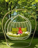 Садовое подвесное кресло качели кокон Glamur полосы, подвесное кресло яйцо, кресло-качели, висячие кресла