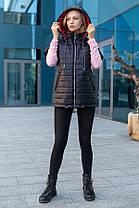 Безрукавка стеганая женская с капюшоном, цвет чёрный, большого размера от 46 до 56, фото 3